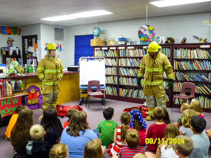 With our turnouts on, we answered questions and learned who in the childrens' families are firefighters.
