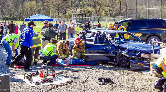 "Responders attending to a ""Prom Night"" accident victim."